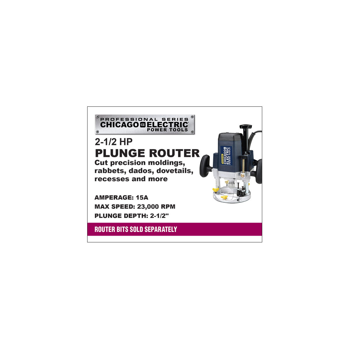 2 1 2 hp plunge router for 3 1 4 hp router motor only