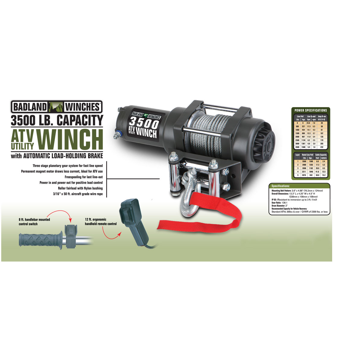 3500 Lbs Atv Utility Electric Winch With Automatic Load Holding Brake Polaris Solenoid Wiring Diagram