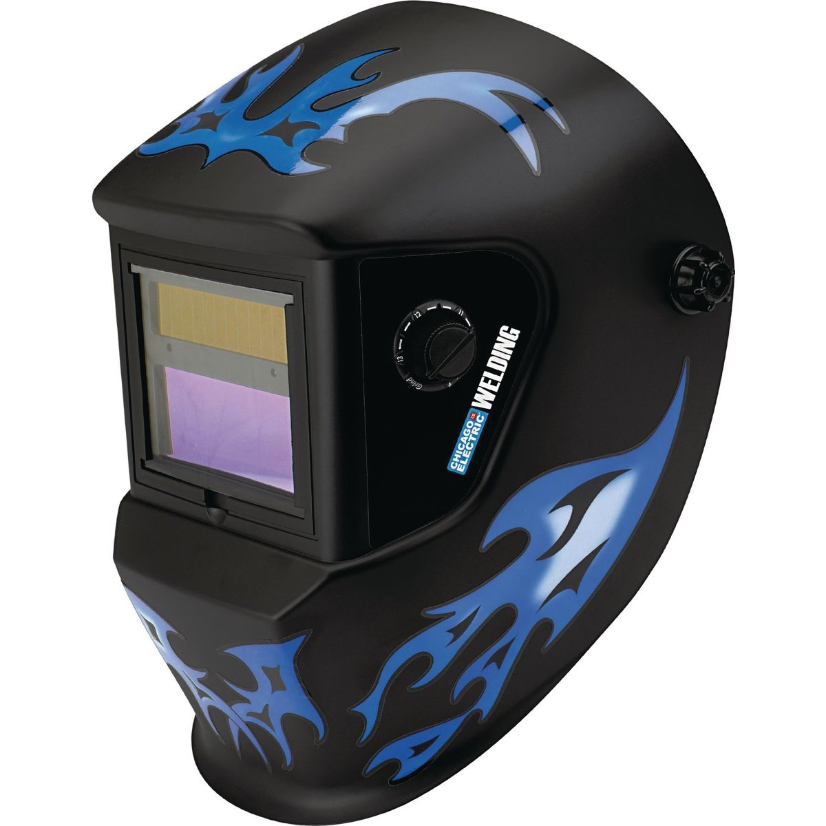 Auto darkening welding helmet with blue flame design