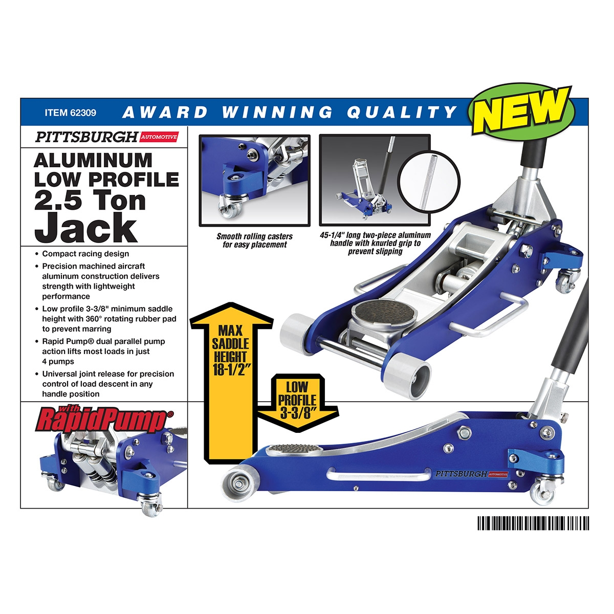 Harbor Freight Catalog : Ton aluminum racing floor jack with rapidpump