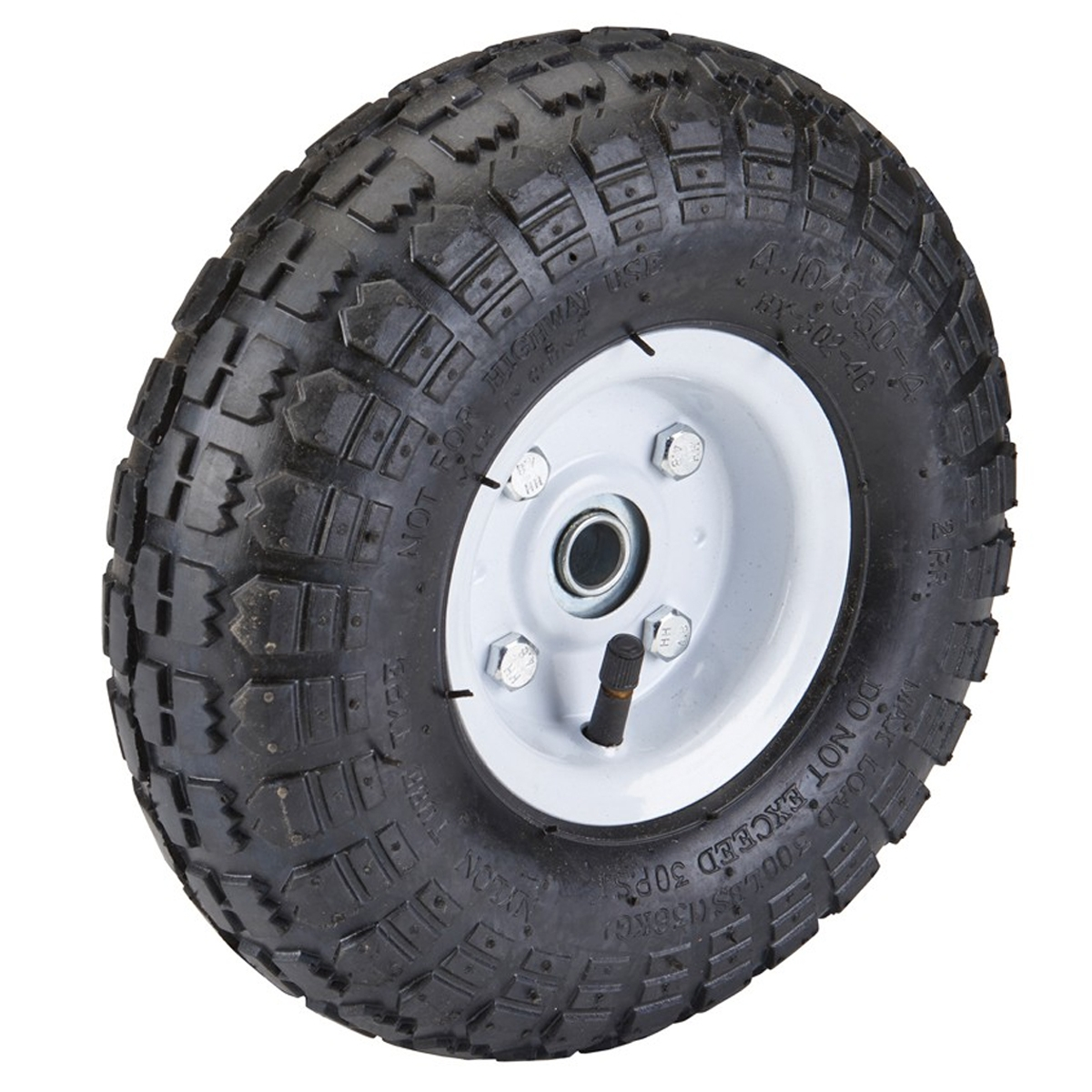 10 in pneumatic tire with white hub