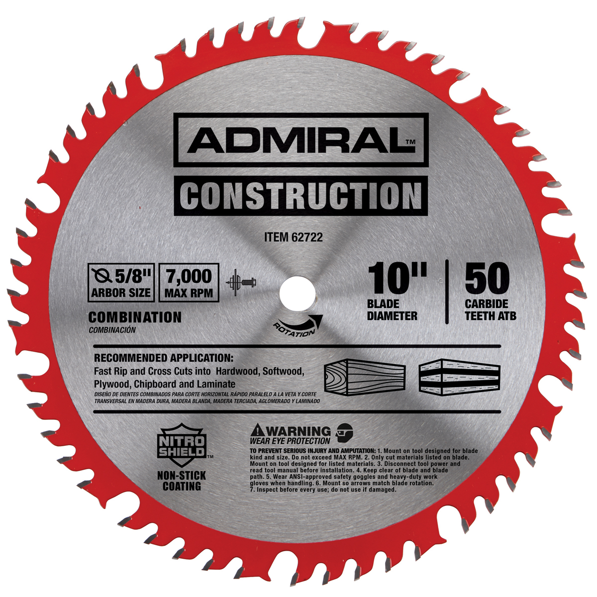 10 In 50t Combination Circular Saw Blade With Nitro