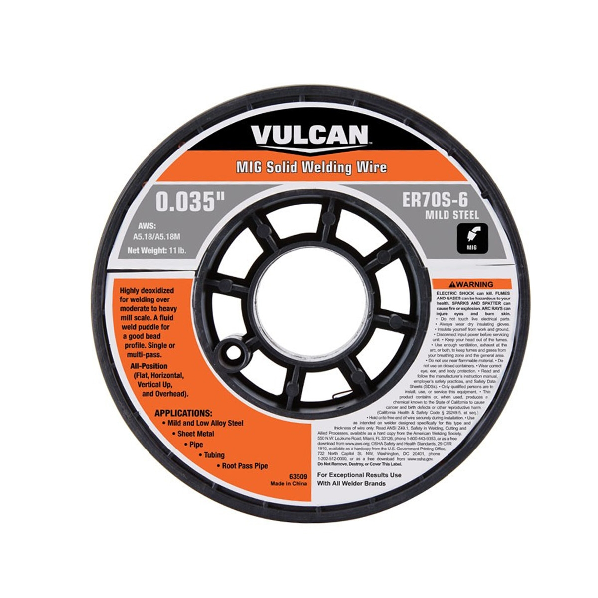 0.035 in. ER70S-6 MIG Solid Welding Wire, 11.00 lbs. Roll