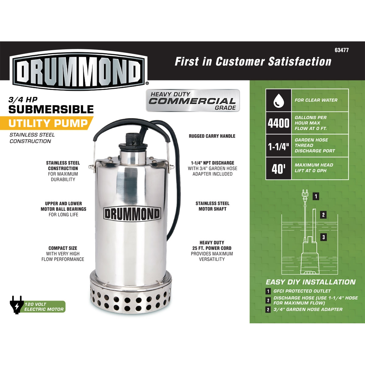 Harbor Freight Utility Cart >> 3/4 HP Submersible Utility Pump Stainless Steel Construction 4400 GPH