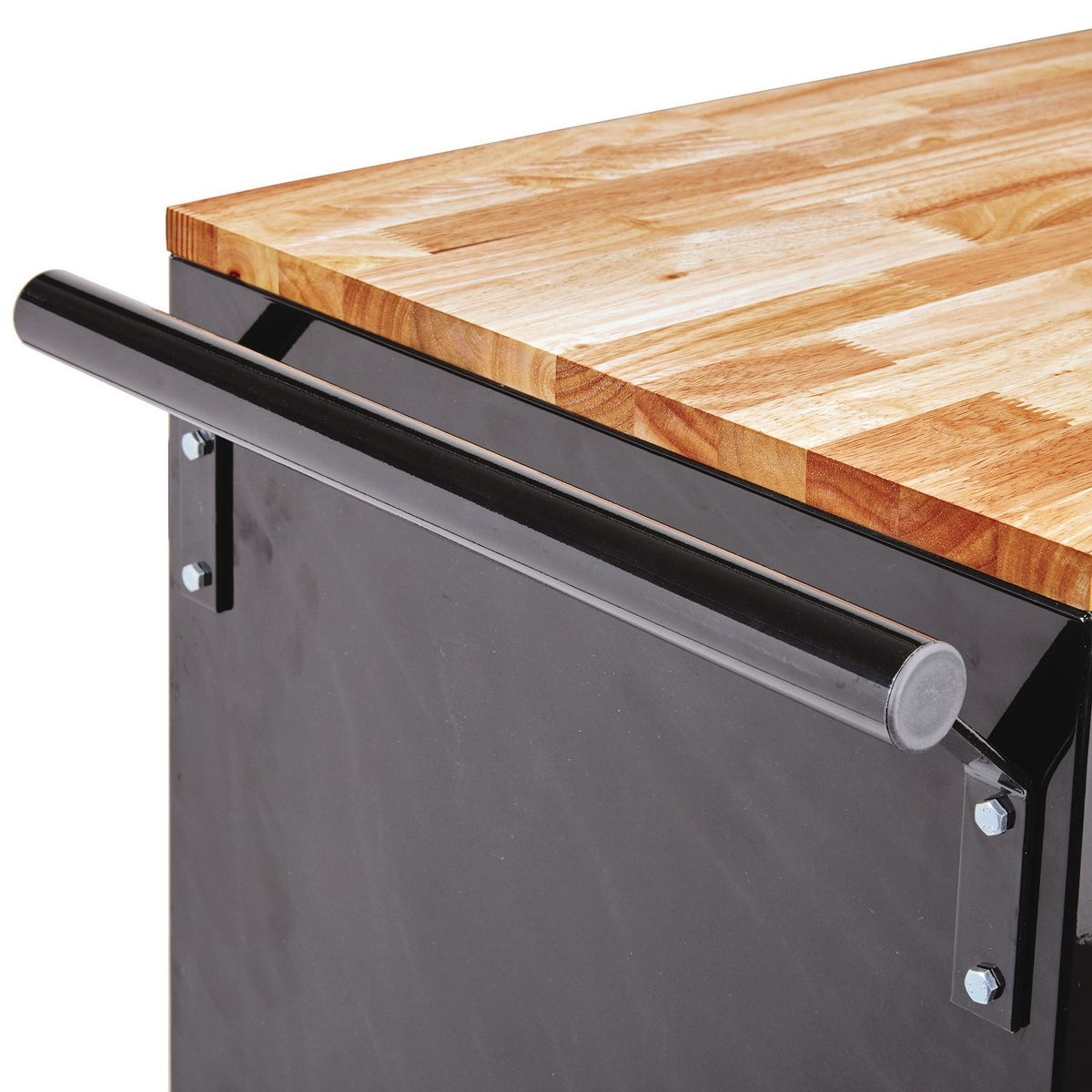 46 In Mobile Storage Cabinet With Wood Top