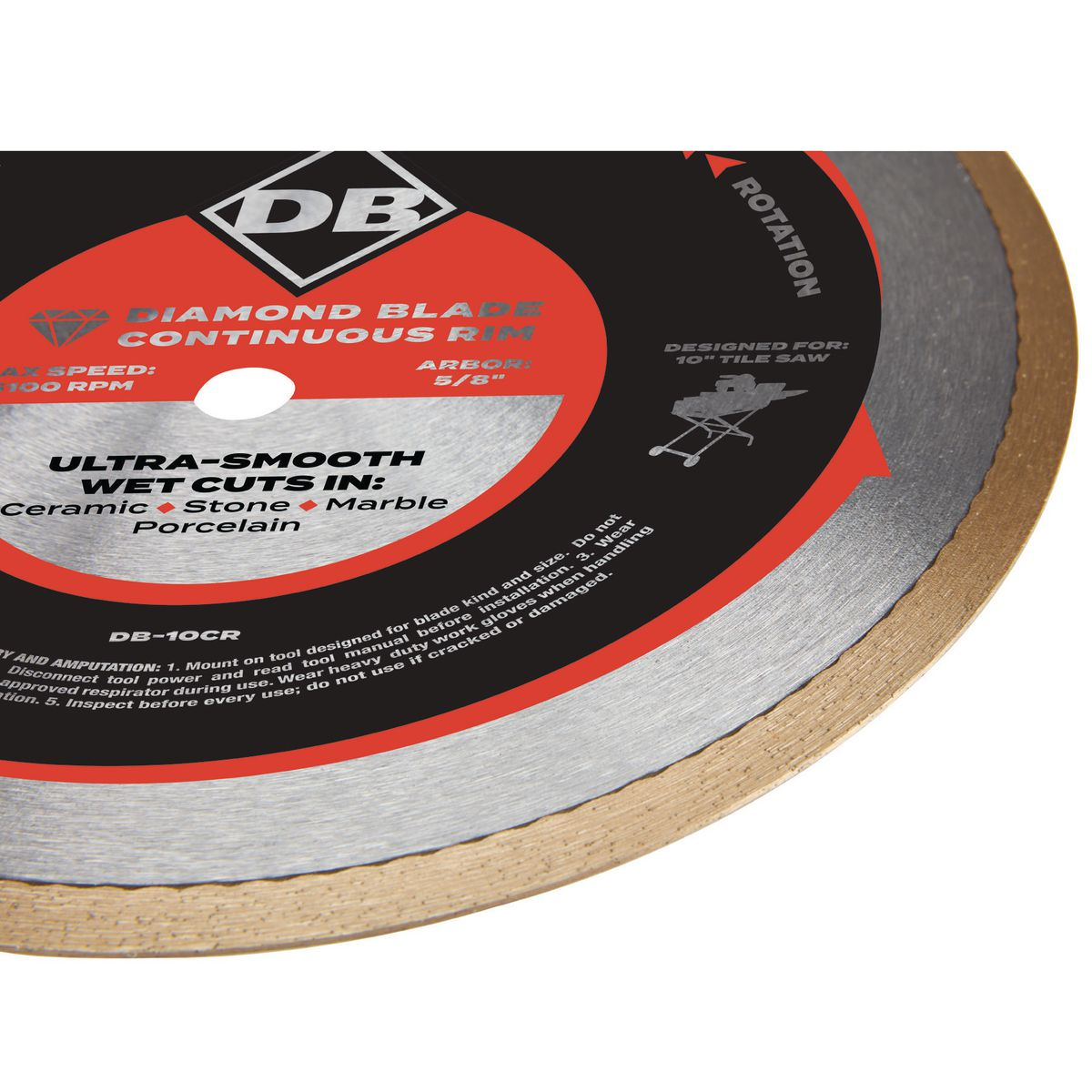 10 In Continuous Rim Wet Cut Diamond Blade