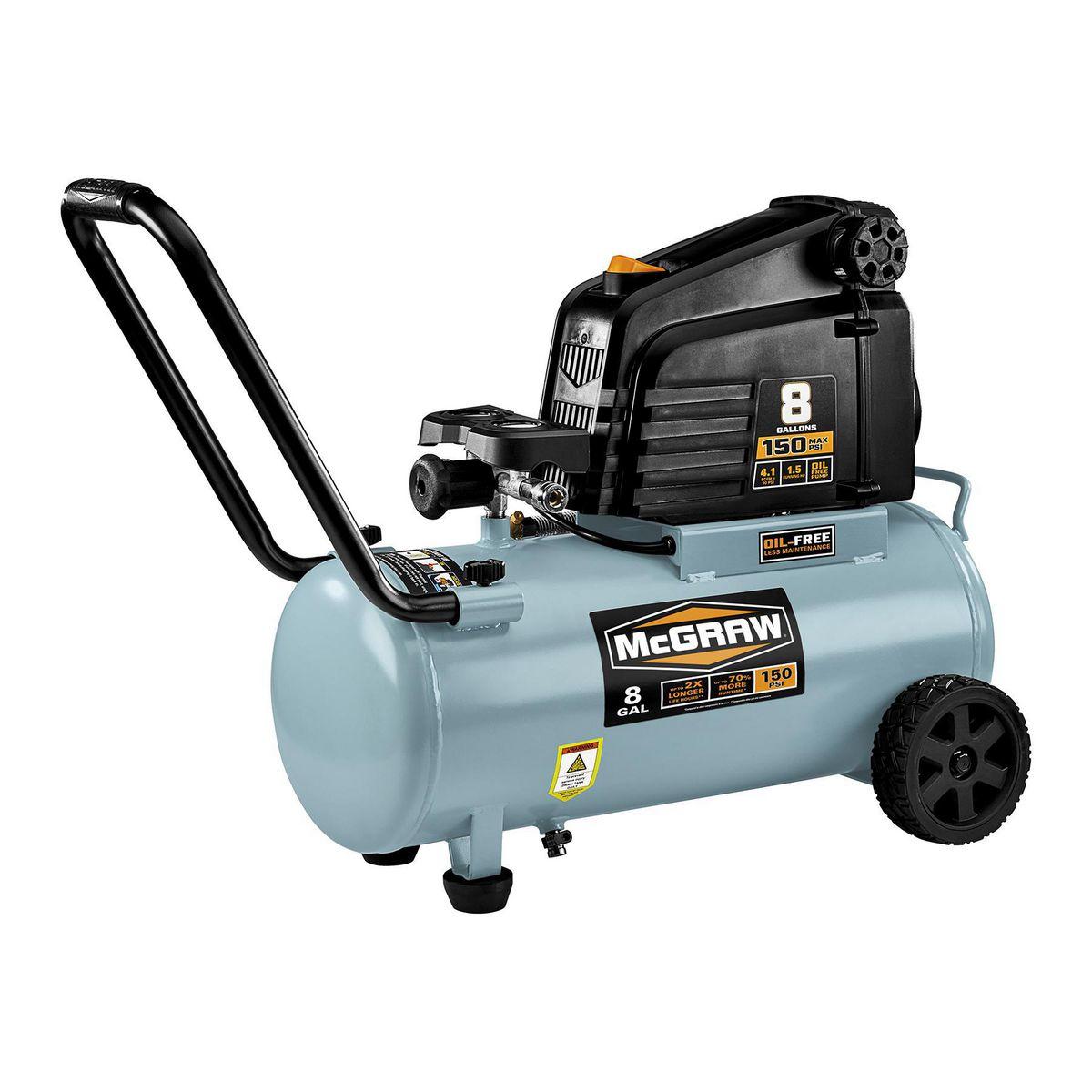 8 Gallon 1 5 Hp 150 Psi Oil Free Portable Air Compressor