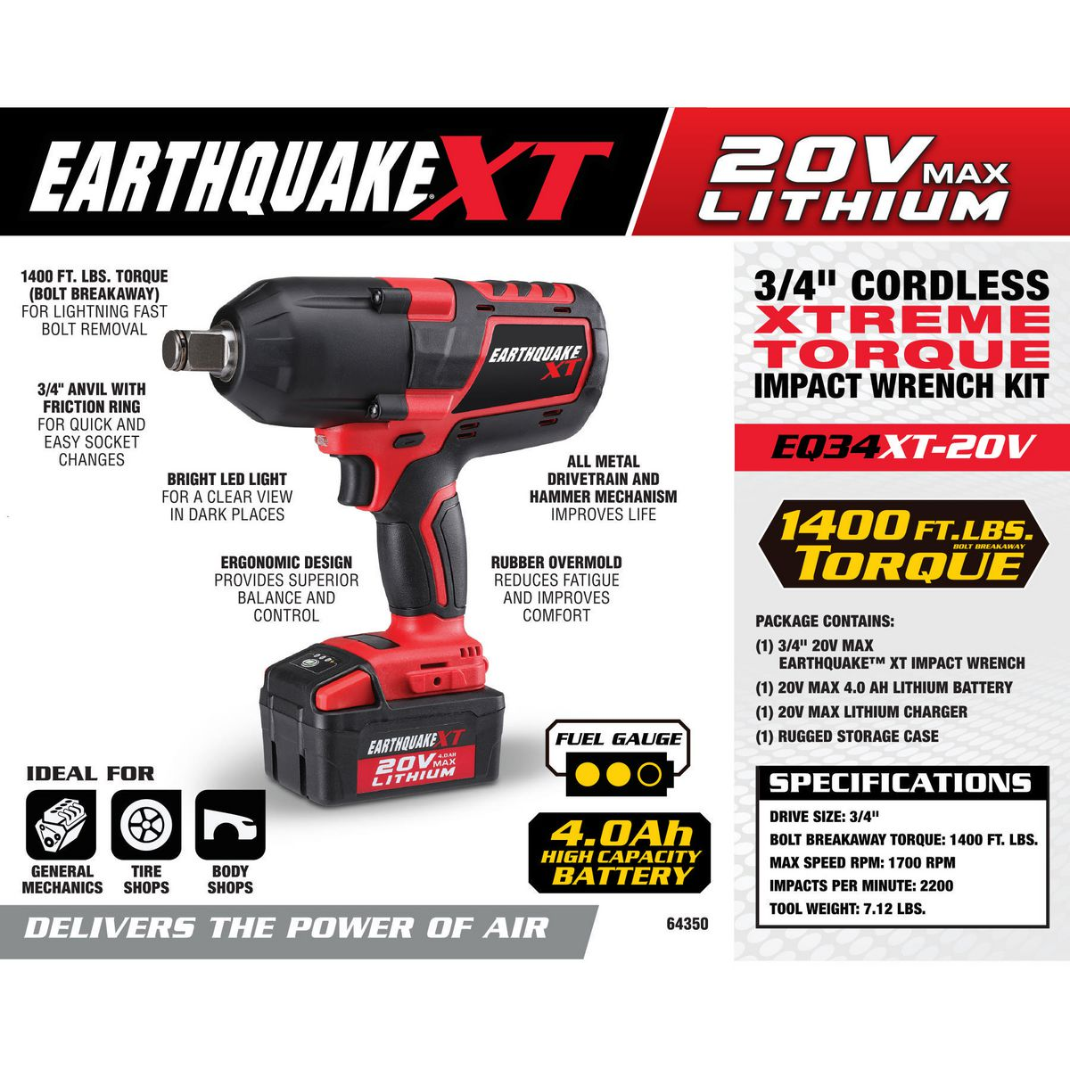 Cordless Xtreme Torque Impact Wrench Kit