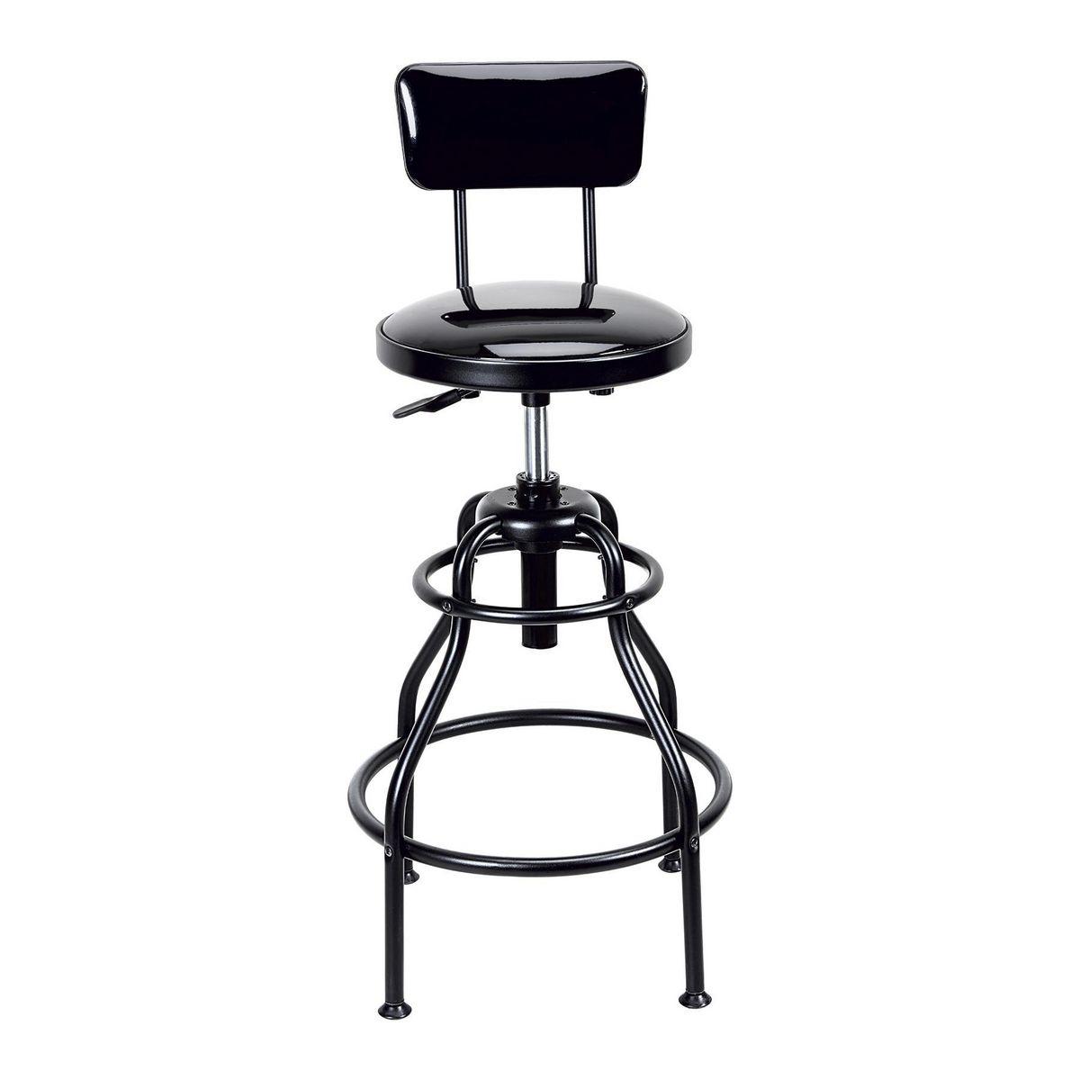 Adjustable Shop Stool With Backrest
