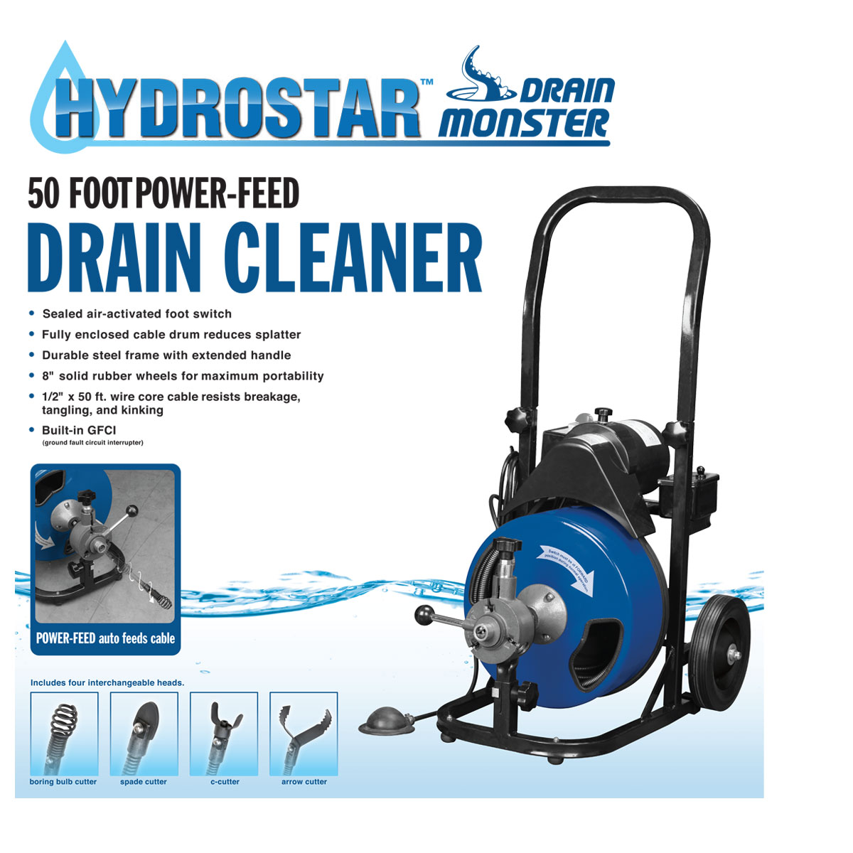 50 Ft Commercial Power Feed Drain Cleaner With Gfci