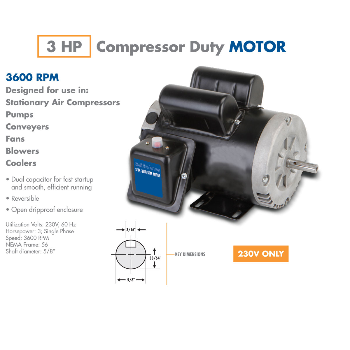 3 hp compressor duty motor for 3 phase 3hp motor