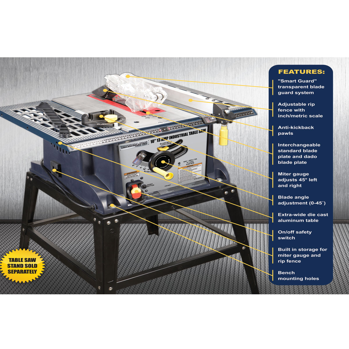Chicago Electric Table Saw Home And Garden Shoppingcom Ask Home Design