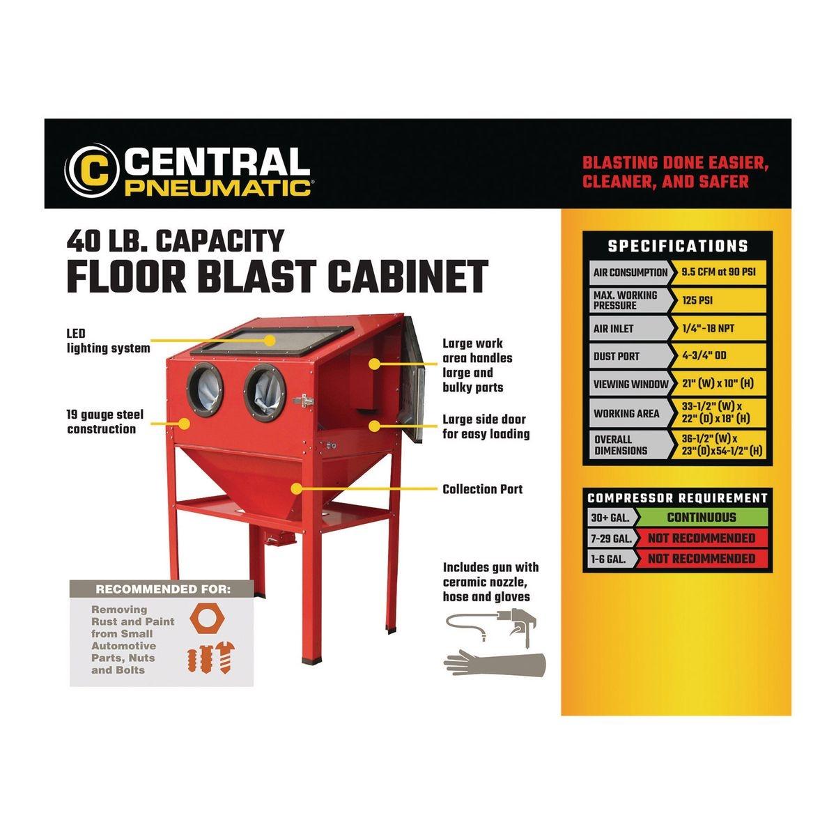 40 lb capacity floor blast cabinet rh harborfreight com blast cabinet harbor freight mods blast cabinet harbor freight mods