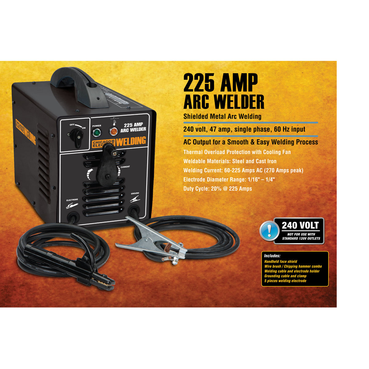 225 Amp-AC, 240 Volt, Stick Welder on