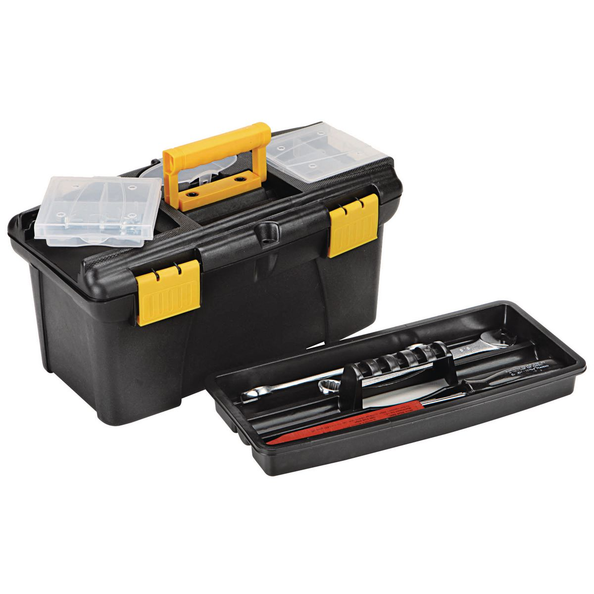 12 in toolbox with top tray
