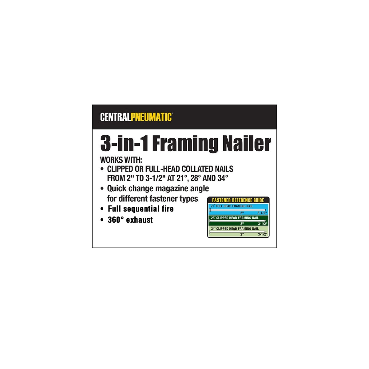3-in-1 Air Framing Nailer - 10 Gauge