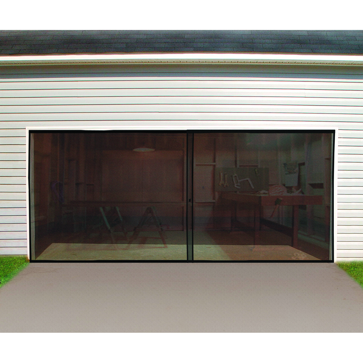 Double garage screen door for Two door garage