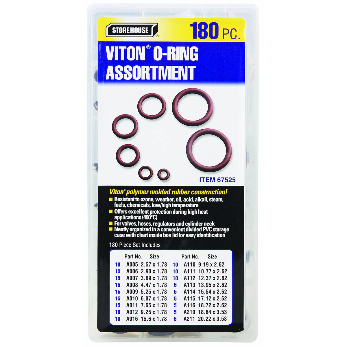 180 Piece Viton O Ring Kit