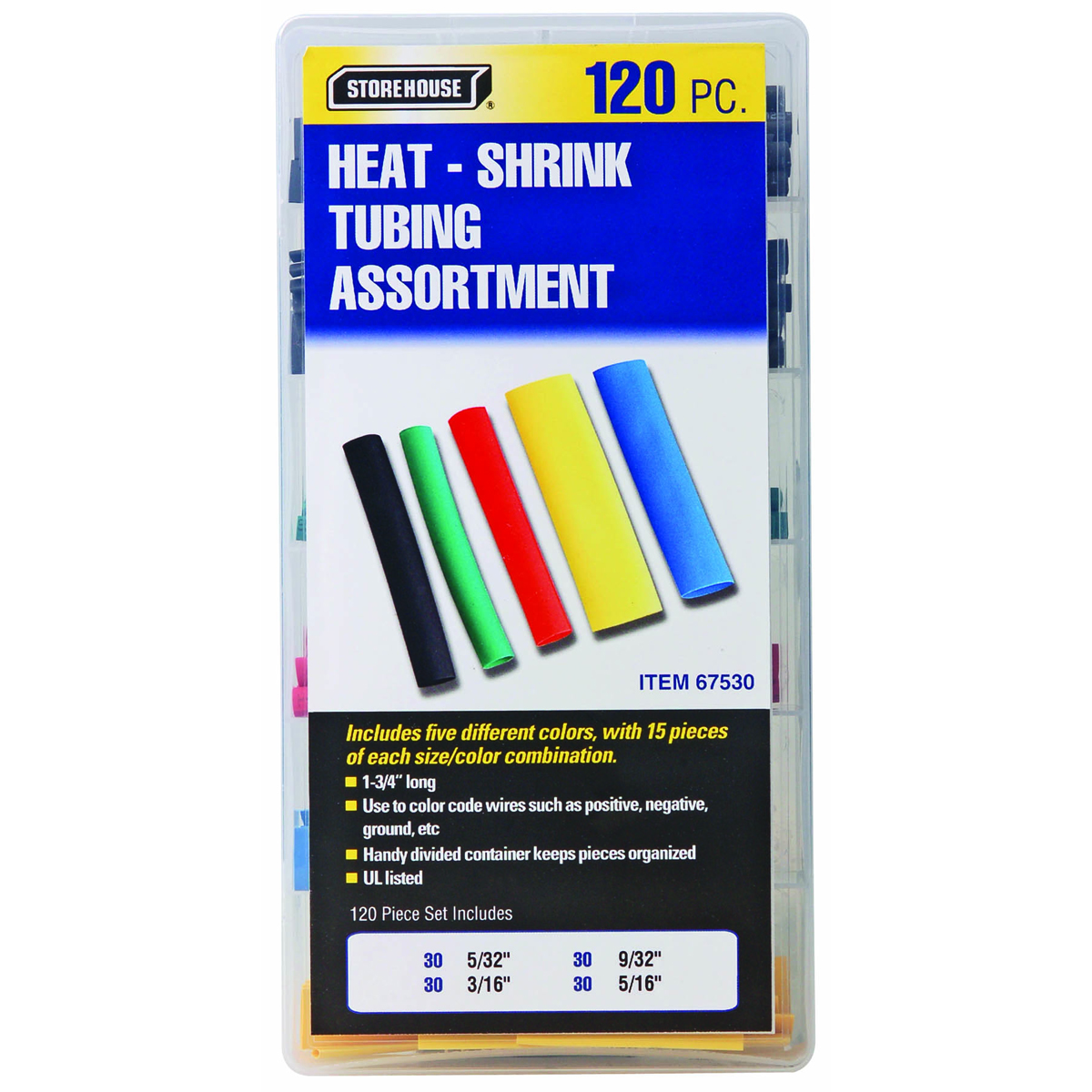 120 Piece Heat Shrink Tubing Set House Wiring Ground Color