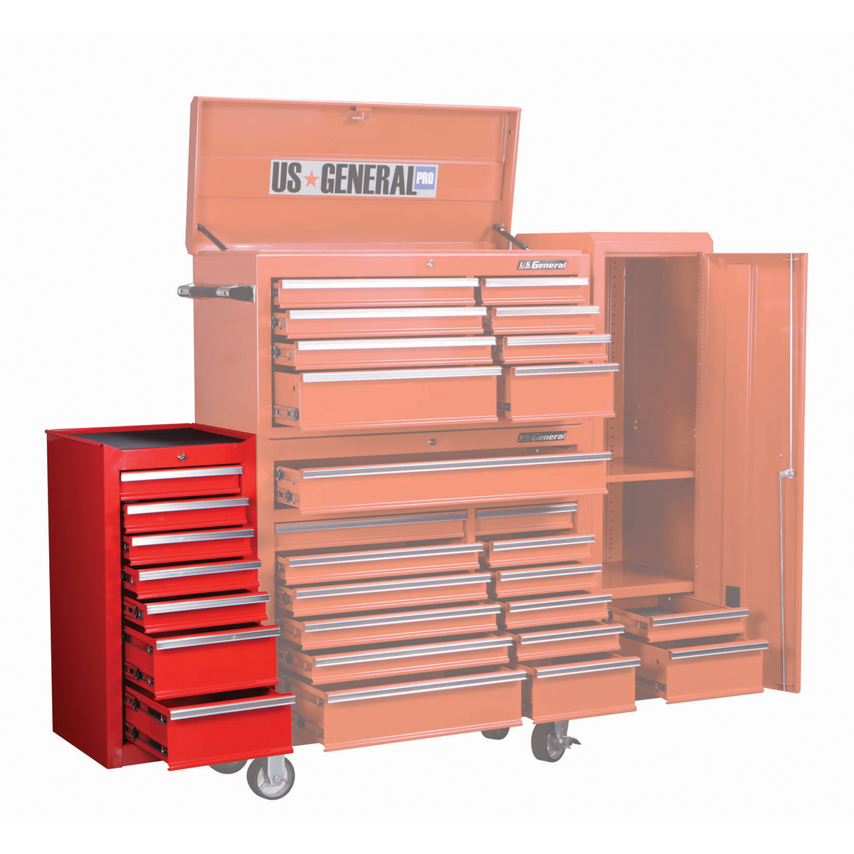 18 in 7 drawer glossy red end cabinet for roller tool chest. Black Bedroom Furniture Sets. Home Design Ideas