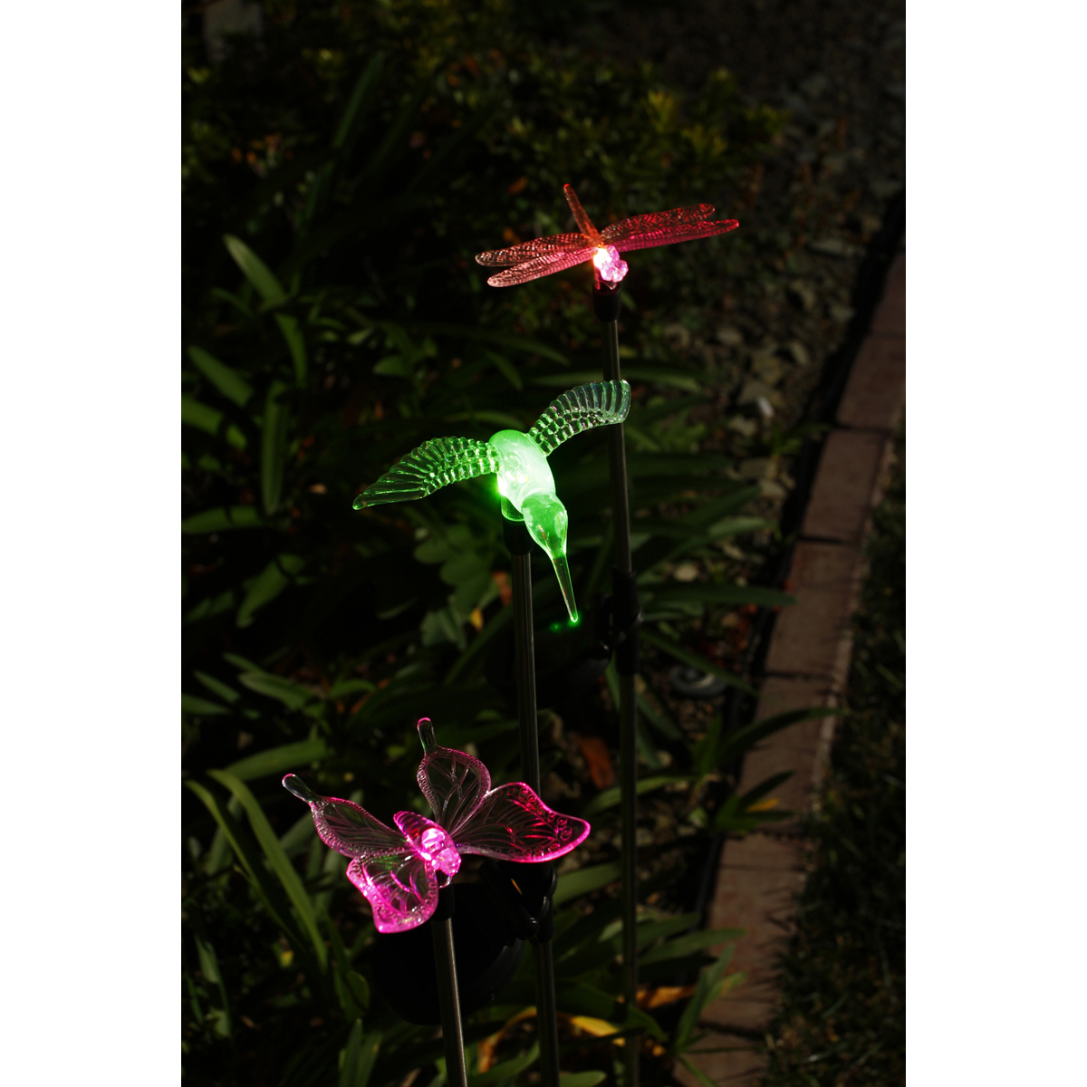 Solar Garden Light Set Dragonfly Hummingbird Amp Butterfly