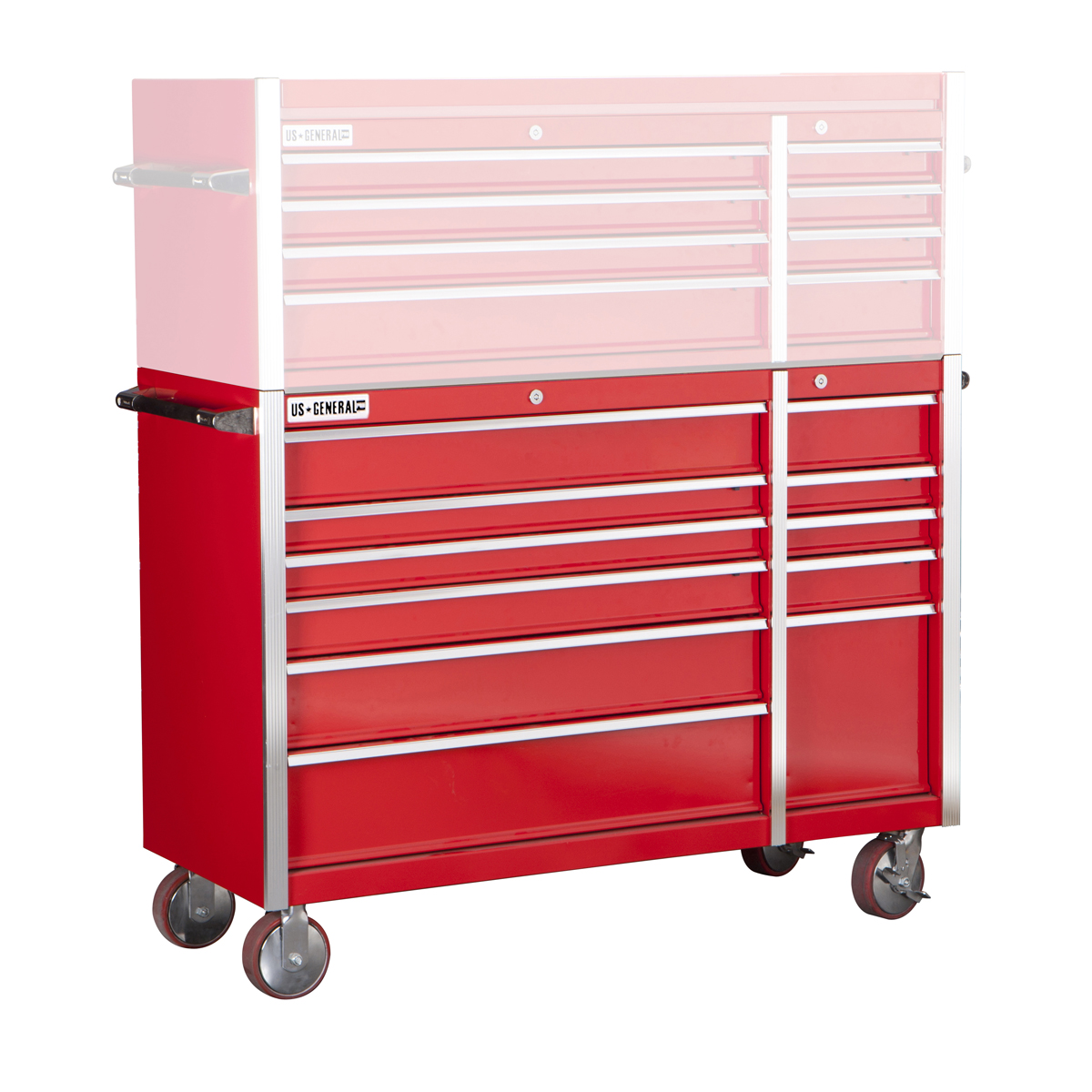 56 in 11 drawer glossy red industrial roller cabinet for Sideboard roller