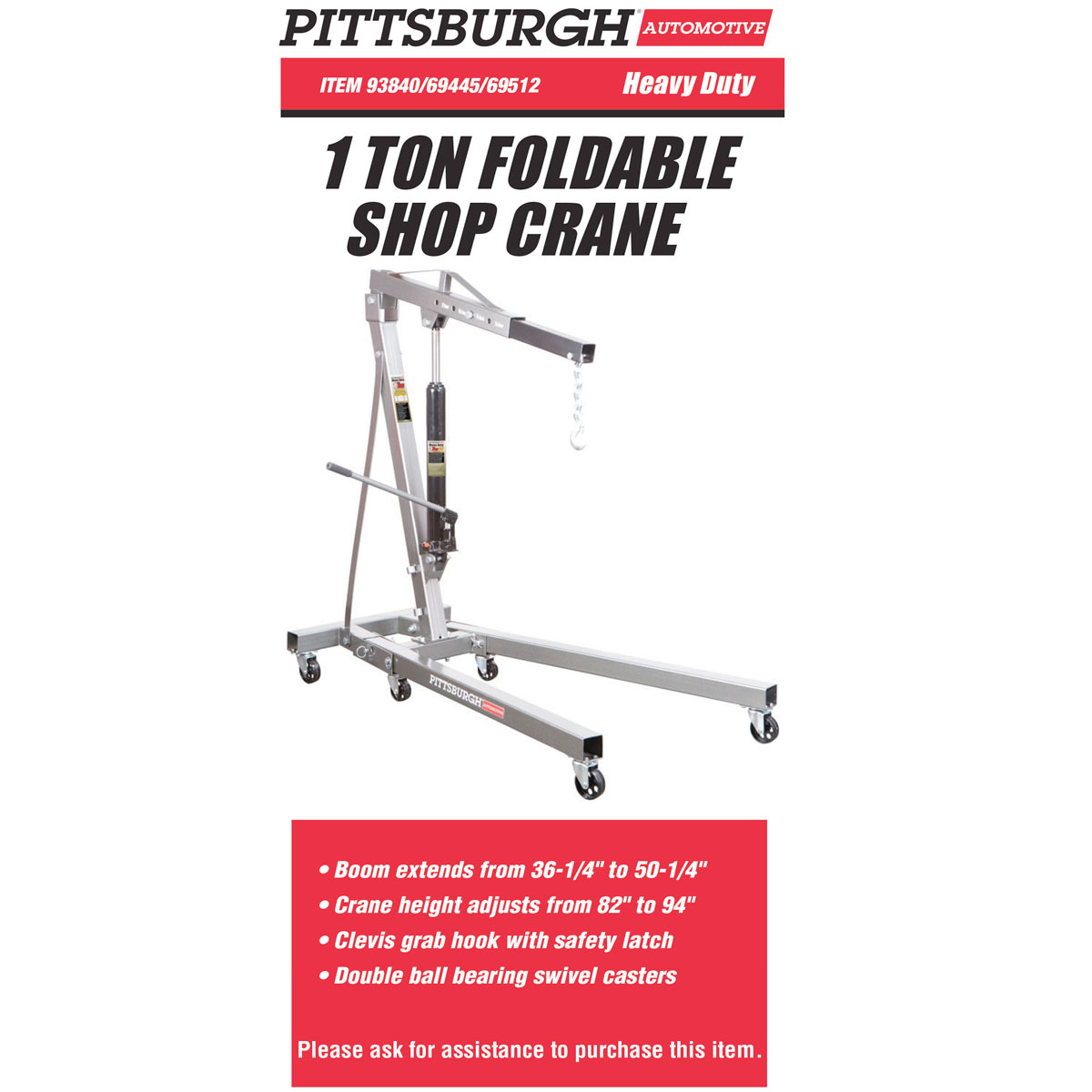 Shop Lights At Harbor Freight: 1 Ton Capacity Foldable Shop Crane