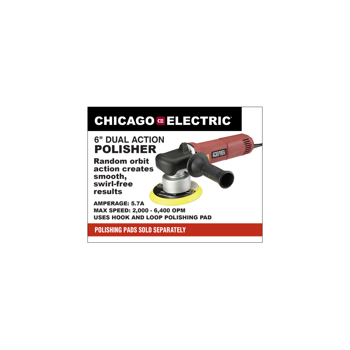 6 In 57 Amp Heavy Duty Dual Action Variable Speed Polisher Chicago 3 Way Wiring Diagram