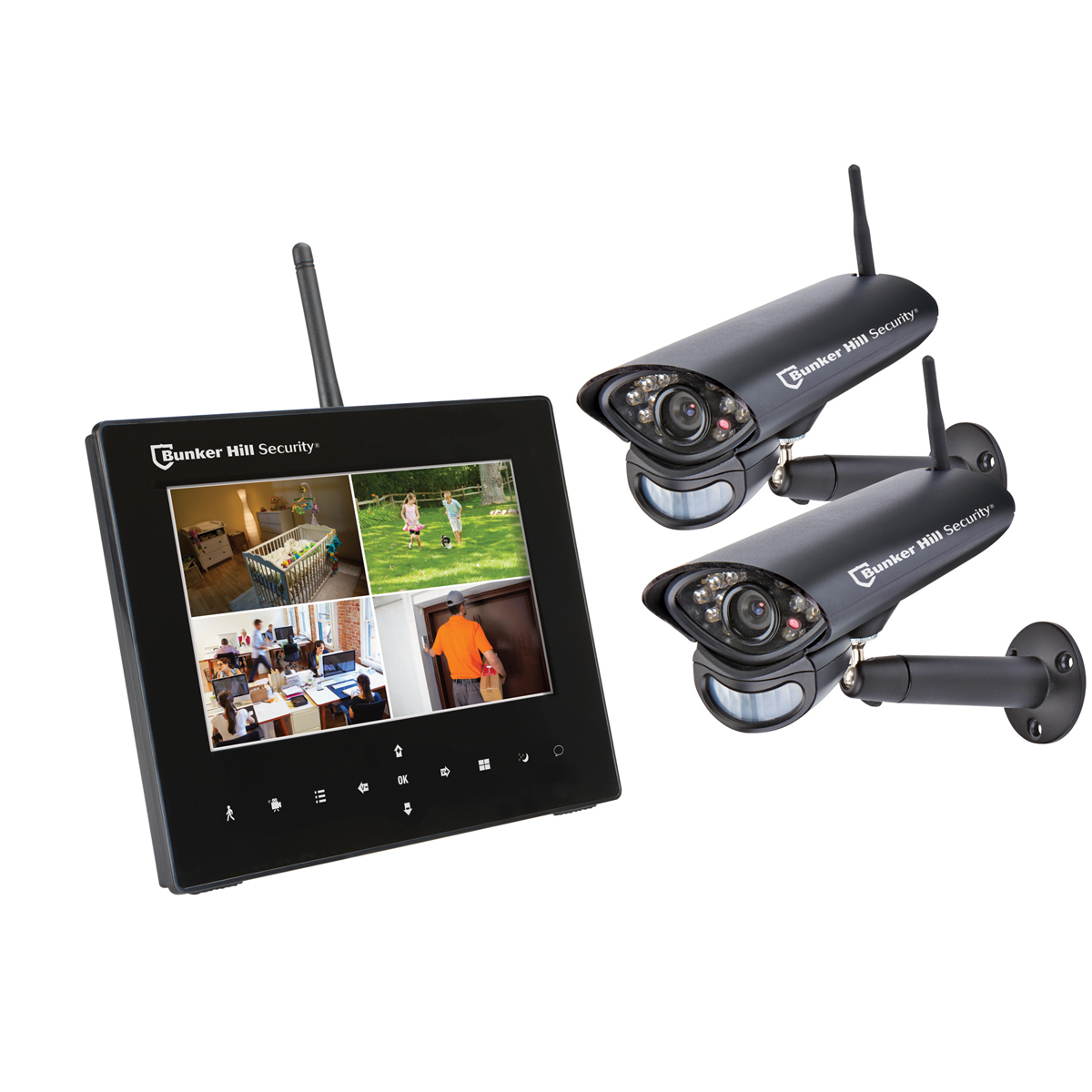 4 channel wireless surveillance system with 2 cameras. Black Bedroom Furniture Sets. Home Design Ideas