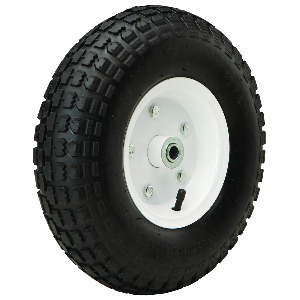 13 In Heavy Duty Pneumatic Tire With White Hub