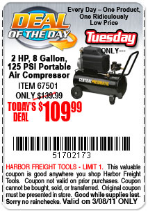 Harbor freight daily deals weekending 3 13 car forums for Air compressor motor harbor freight
